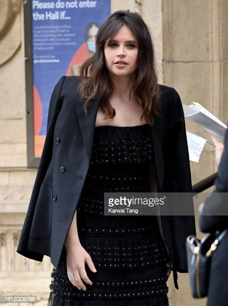 Felicity Jones attends the EE British Academy Film Awards 2021 at the Royal Albert Hall on April 11, 2021 in London, England.