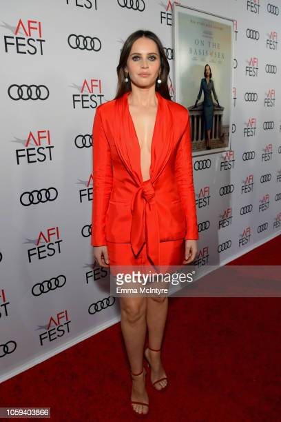 Felicity Jones attends the Opening Night World Premiere Gala Screening of On The Basis Of Sex at AFI FEST 2018 Presented By Audi at TCL Chinese...