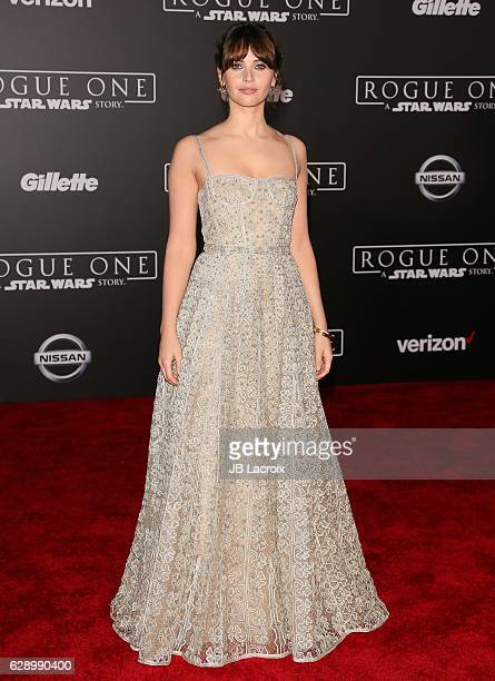 Felicity Jones attends the Premiere of Walt Disney Pictures and Lucasfilm's 'Rogue One A Star Wars Story' on December 10 2016 in Hollywood California