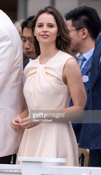 Felicity Jones attends The Royal Windsor Cup Final at Guards Polo Club on June 23, 2019 in Egham, England.