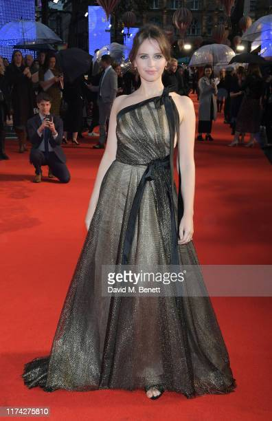 Felicity Jones attends the UK Premiere of The Aeronauts during the 63rd BFI London Film Festival at Odeon Luxe Leicester Square on October 7 2019 in...