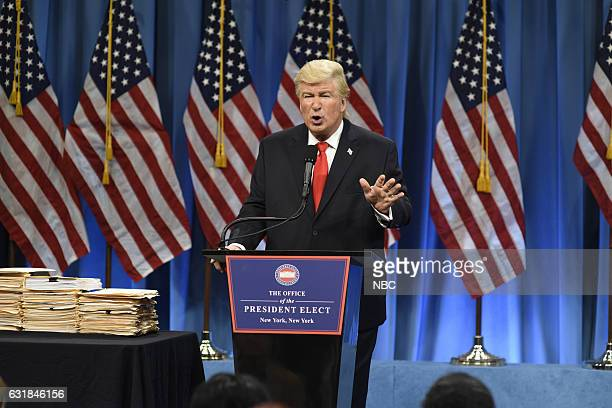 LIVE Felicity Jones Episode 1715 Pictured Alec Baldwin as President Elect Donald J Trump during the Trump Press Conference Cold Open on January 14th...