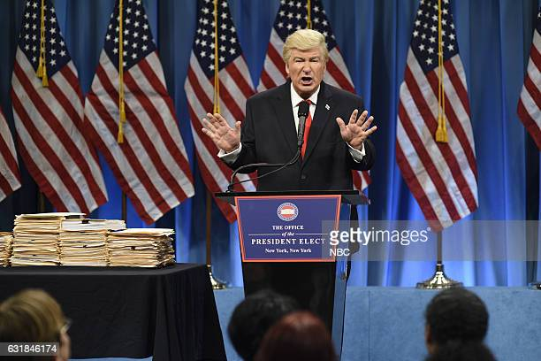 """Felicity Jones"""" Episode 1715 -- Pictured: Alec Baldwin as President Elect Donald J. Trump during the Trump Press Conference Cold Open on January..."""