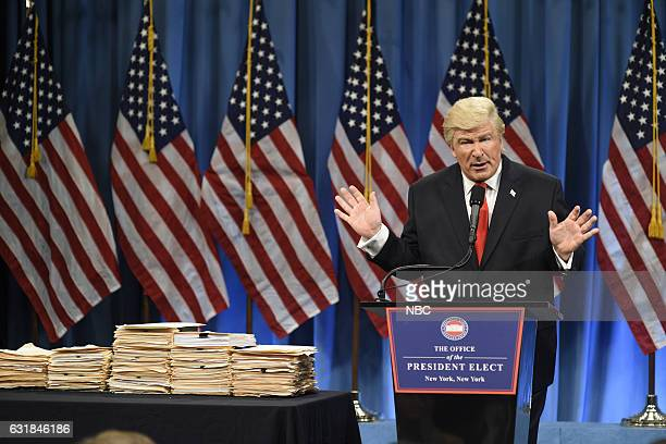 LIVE 'Felicity Jones' Episode 1715 Pictured Alec Baldwin as President Elect Donald J Trump during the Trump Press Conference Cold Open on January...