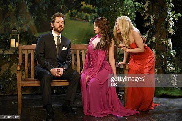 LIVE 'Felicity Jones' Episode 1715 Pictured Beck Bennett host Felicity Jones and Kate McKinnon during the Beard Hunk sketch on January 14th 2017