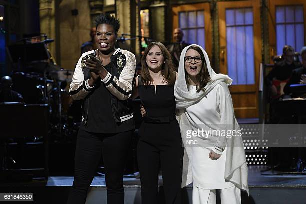 LIVE 'Felicity Jones' Episode 1715 Pictured Leslie Jones host Felicity Jones and Tina Fey during the monologue on January 14th 2017