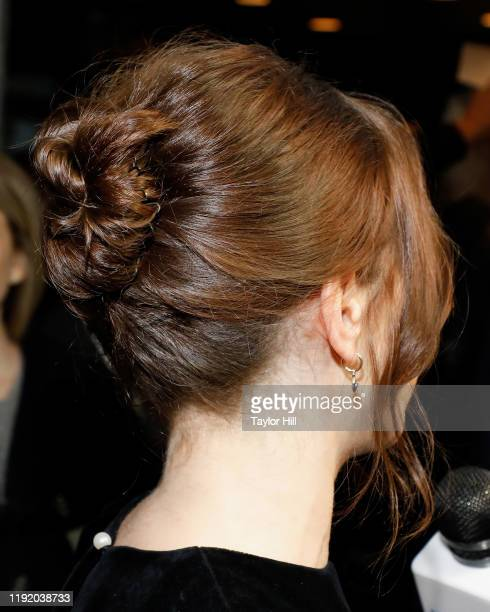 Felicity Jones hair detail attends the premiere of The Aeronauts at SVA Theater on December 04 2019 in New York City