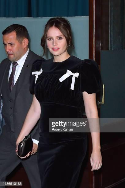 Felicity Jones is seen in Manhattan on December 4 2019 in New York City