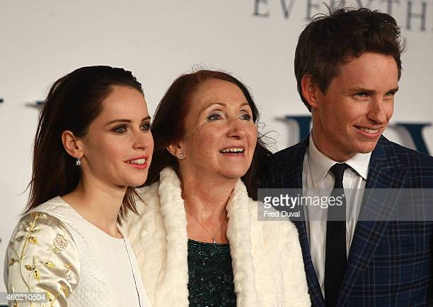 Felicity Jones Jane Hawking and Eddie Redmayne attends the UK Premiere of The Theory Of Everything at Odeon Leicester Square on December 9 2014 in...