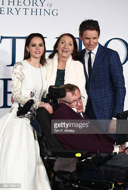 Felicity Jones Jane Hawking Professor Stephen Hawking and Eddie Redmayne attend the UK Premiere of The Theory Of Everything at Odeon Leicester Square...