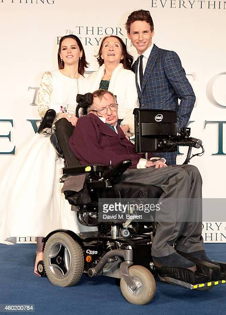 Felicity Jones Jane Hawking Stephen Hawking and Eddie Redmayne attend the UK Premiere of The Theory Of Everything at Odeon Leicester Square on...