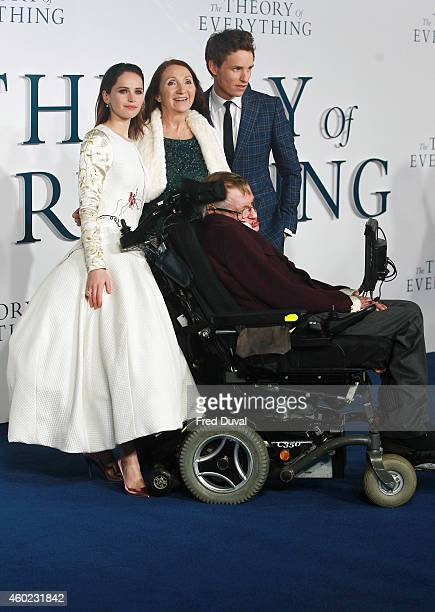 Felicity Jones Jane Hawking Stephen Hawking and Eddie Redmayne attends the UK Premiere of The Theory Of Everything at Odeon Leicester Square on...