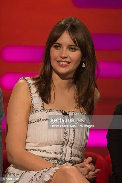 Felicity Jones performing during filming of the Graham Norton Show at The London Studios south London to be aired on BBC One on Friday evening