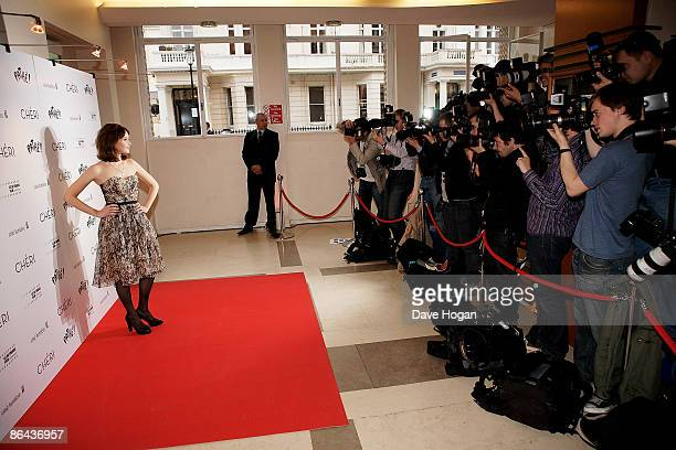 Felicity Jones poses for photographers at the UK Premiere of 'Cheri' held at The Cine lumiere Institut Francais South Kensington on May 06 2009 in...