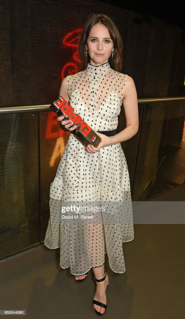 Felicity Jones poses in the winners room at the THREE Empire awards at The Roundhouse on March 19, 2017 in London, England.