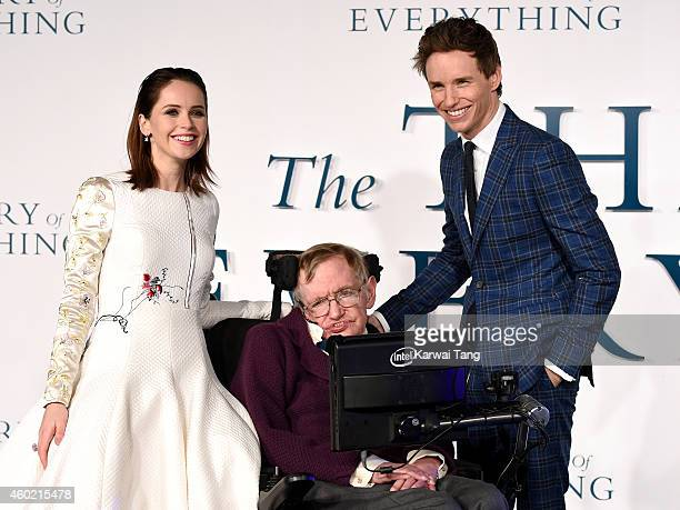 Felicity Jones Professor Stephen Hawking and Eddie Redmayne attend the UK Premiere of 'The Theory Of Everything' at Odeon Leicester Square on...
