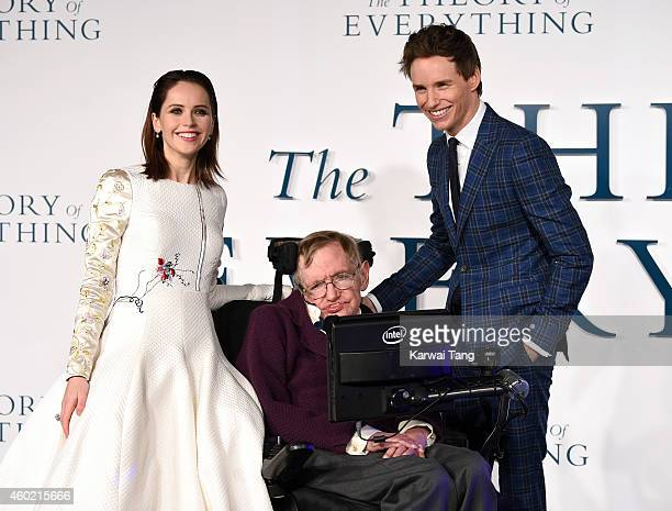 Felicity Jones Professor Stephen Hawking and Eddie Redmayne attend the UK Premiere of The Theory Of Everything at Odeon Leicester Square on December...