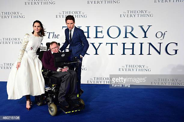 Felicity Jones Professor Stephen Hawking Eddie Redmayne attend the UK Premiere of The Theory Of Everything at Odeon Leicester Square on December 9...