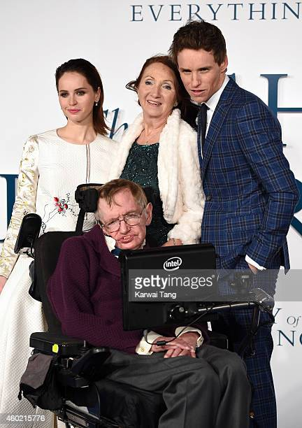 Felicity Jones Professor Stephen Hawking Jane Hawking and Eddie Redmayne attend the UK Premiere of The Theory Of Everything at Odeon Leicester Square...