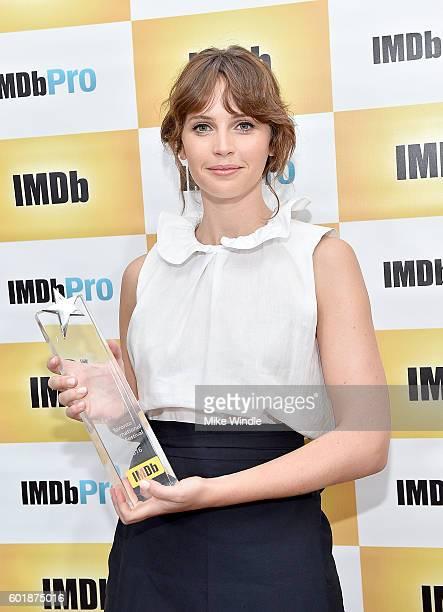 Felicity Jones receives the IMDb Fan Favorite STARmeter Award at the 2016 Toronto International Film Festival on September 10 2016 in Toronto Canada