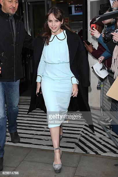Felicity Jones seen at BBC Radio 2 on December 15 2016 in London England