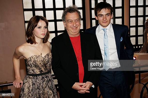 Felicity Jones Stephen Frears and Rupert Friend attend the UK Premiere of 'Cheri' held at The Cine lumiere Institut Francais South Kensington on May...