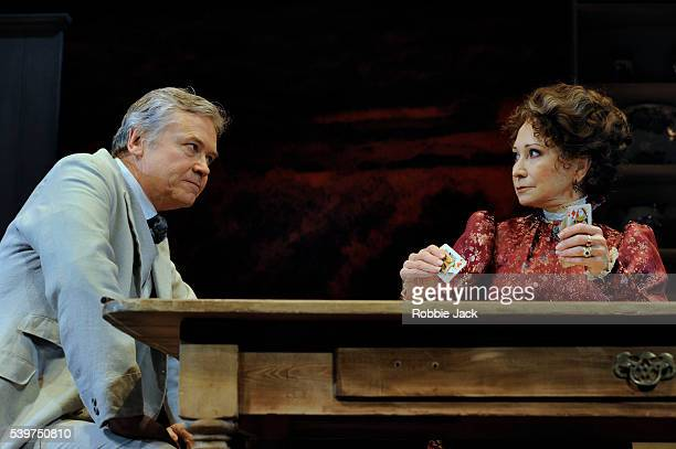 Felicity Kendal as Mrs Warren and David Yeland as Sir George Crofts in the production of George Bernard Shaw's Mrs Warren's Profession directed by...