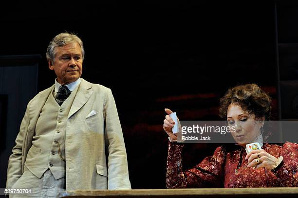 Felicity Kendal as Mrs Warren and David Yelland as Sir George Crofts in the production of George Bernard Shaw's Mrs Warren's Profession directed by...