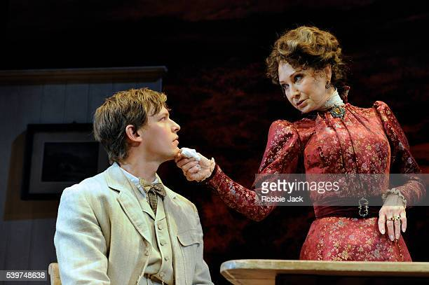 Felicity Kendal as Mrs Warren and Max Bennett as Frank Gardner in the production of George Bernard Shaw's Mrs Warren's Profession directed by Michael...