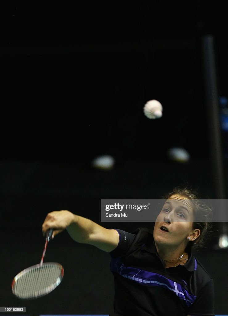 Felicity Leydon-Davis of New Zealand in action during qualifying for the New Zealand Badminton Open at North Shore Events Centre on April 10, 2013 in Auckland, New Zealand.