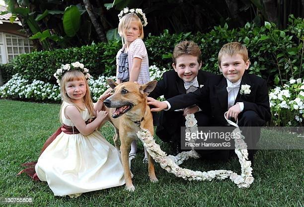 Felicity Murch Jake Field and Hunter Field attend the wedding of Gene Simmons and Shannon Tweed at the Beverly Hills Hotel on October 1 2011 in Los...