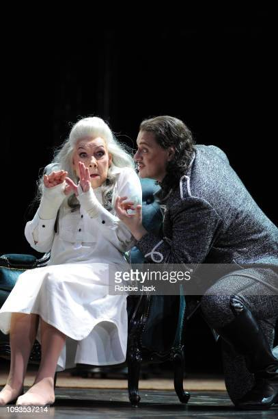 Felicity Palmer as The Countess and Aleksandrs Antonenko as Gherman in Pyotr Il'yich Tchaikovsky's The Queen of Spades directed by Stefan Herheim and...