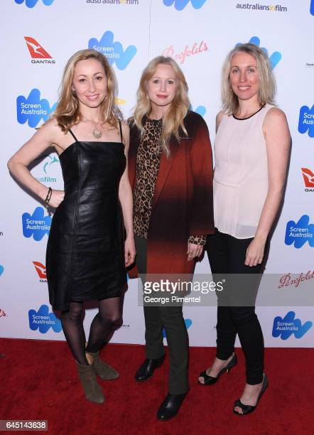 Felicity Price Anna Lise Phillips and Simonne Overend attend the Australian Oscar Nominees reception at Four Seasons Hotel Los Angeles at Beverly...