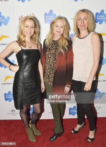 Felicity Price Anna Lise Phillips and Simonne Overend attend the Screen Australia and Australians in Film reception for Australian Oscar nominees at...