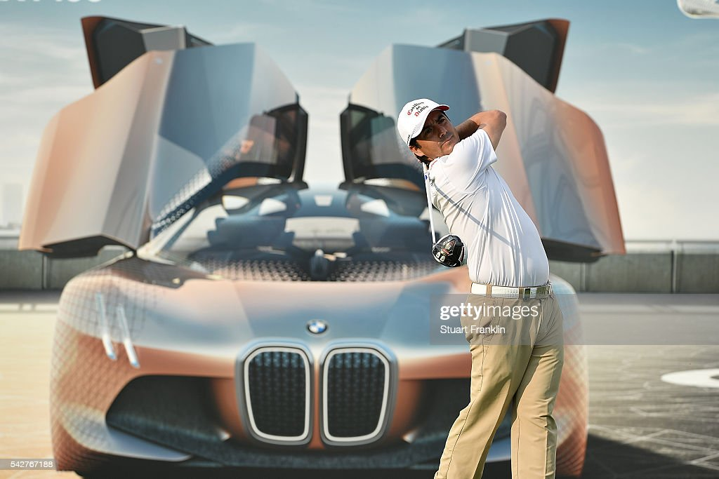 Felipe Aguilar of Chile hits a tee shot during the second round of the BMW International Open at Gut Larchenhof on June 24, 2016 in Cologne, Germany.