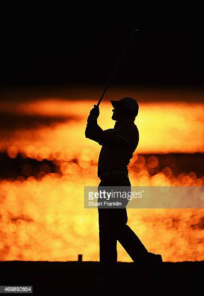 Felipe Aguilar of Chile plays a shot during the first round of the Shenzhen International at Genzon Golf Club on April 16 2015 in Shenzhen China
