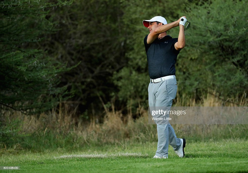Felipe Aguilar of Chile plays his second shot on the 14th hole during the second round of the Nedbank Golf Challenge at the Gary Player CC on November 11, 2016 in Sun City, South Africa.