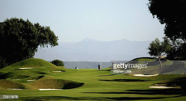Felipe Aguilar of the USA putts out on the third green during the second round of the European Tour Qualifying School Final Stage at The San Roque...