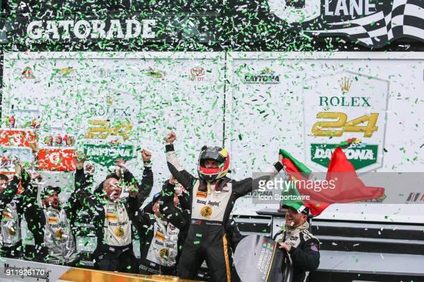 Felipe Albuquerque celebrates in Victory Lane following the Rolex 24 at Daytona on January 28, 2018 at Daytona International Speedway in Daytona...
