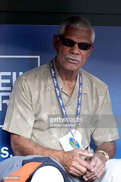 Felipe Alou looks on from the dugout during batting practice prior to the Texas Rangers playing against the San Francisco Giants in Game Four of the...