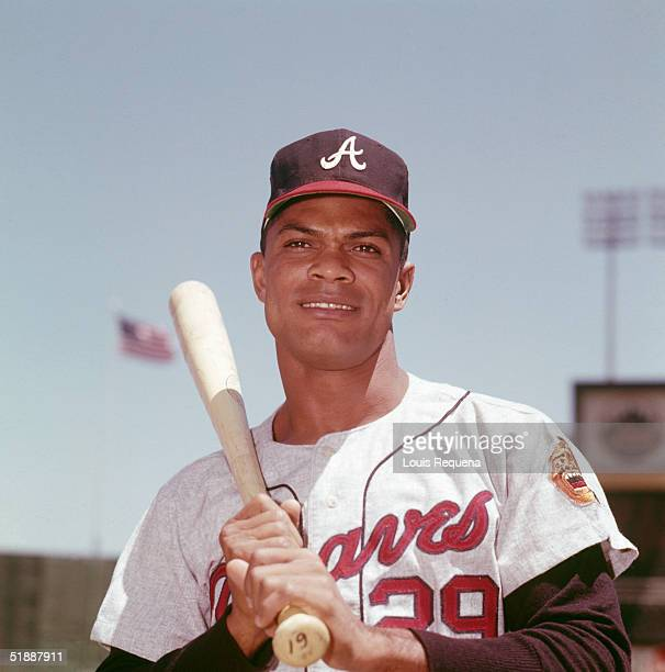Felipe Alou of the Atlanta Braves poses with his bat before a game circa 19661969