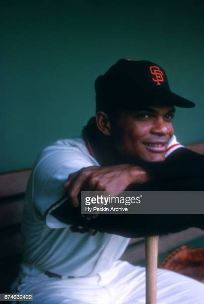 Felipe Alou of the San Francisco Giants poses for a portrait while sitting in the dugout before an MLB game circa 1960 at Candlestick Park in San...