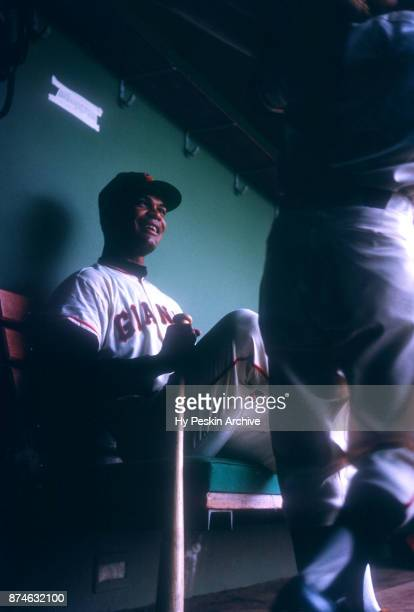 Felipe Alou of the San Francisco Giants sits in the dugout before an MLB game circa 1960 at Candlestick Park in San Francisco California