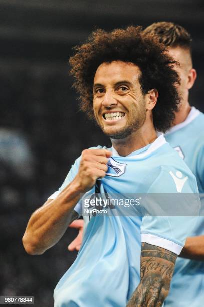 Felipe Anderson celebrate goal during serie A between SS Lazio v FC Internazionale in Rome on May 20 2018
