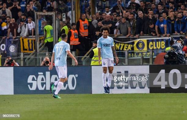 Felipe Anderson celebrates after scoring goal 21 during the Italian Serie A football match between SS Lazio and FC Inter at the Olympic Stadium in...