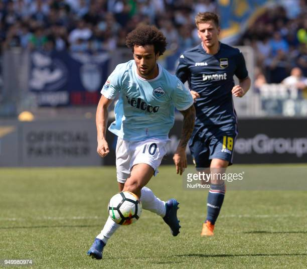 Felipe Anderson during the Italian Serie A football match between SS Lazio and US Sampdoria at the Olympic Stadium in Rome on april 22 2018