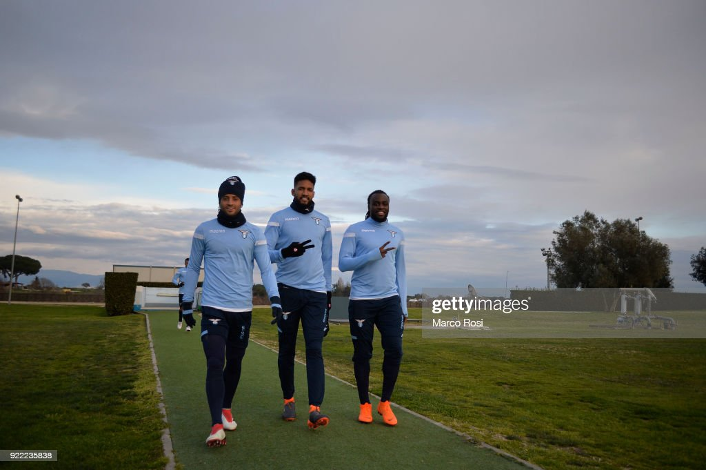Felipe Anderson, Fortuna Wallace and Jordan Lukaku of SS Lazio during the SS Lazio training session on the eve of their UEFA Europa Match against Steaua Bucharest on February 21, 2018 in Rome, Italy.