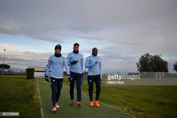 Felipe Anderson Fortuna Wallace and Jordan Lukaku of SS Lazio during the SS Lazio training session on the eve of their UEFA Europa Match against...