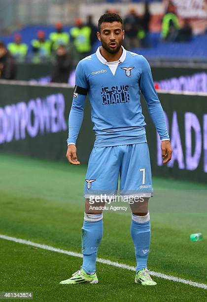 Felipe Anderson of Lazio is seen with the 'Je Suis Charlie' slogan uniform during the Serie A match between AS Roma and Lazio on January 112014 at...
