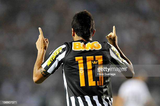 Felipe Anderson of Santos celebrates a goal during a match between Corinthians and Santos as part of the Brazilian Series A Championship 2012 at...